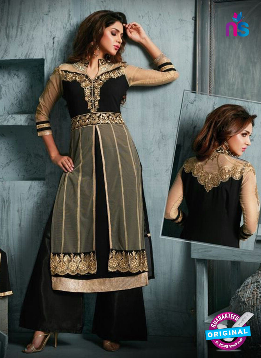 NS11941  Black and Bronze Party Wear Georgette Straight Suit