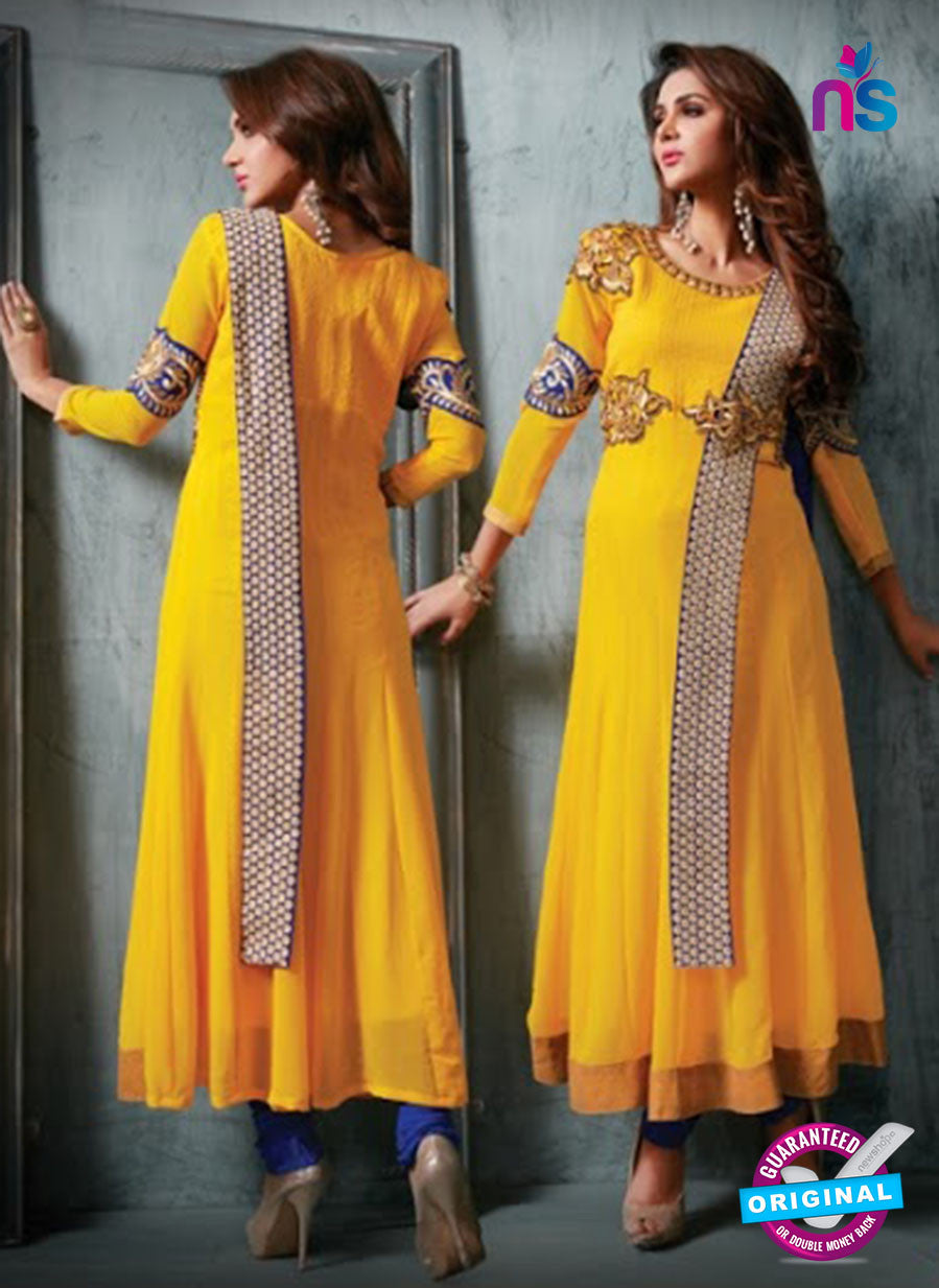 NS11942  Yellow and Royal Blue Party Wear Georgette Anarkali Suit