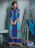 NS11943  RoyalBlue and AquaBlue Party Wear Georgette Straight Suit