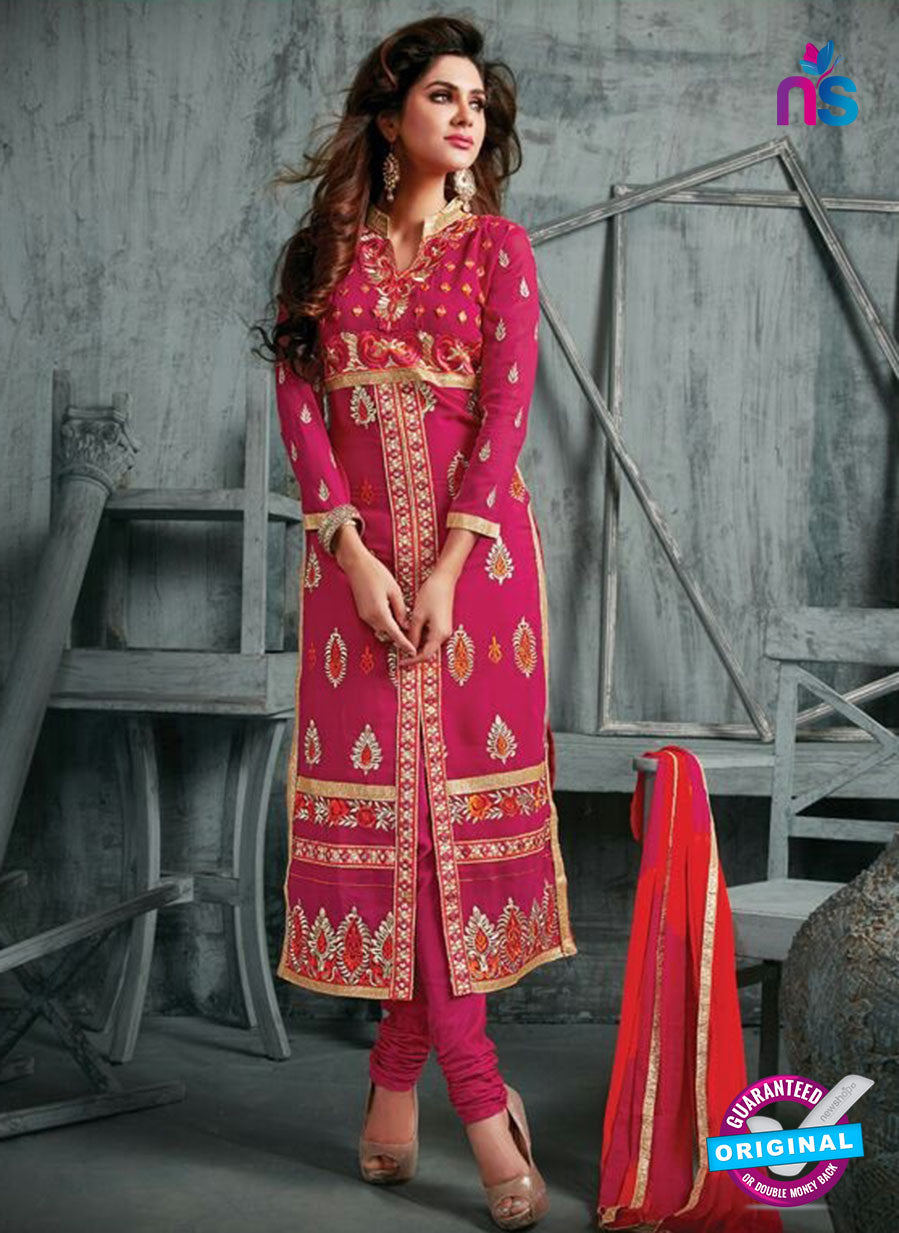 NS11944  DarkMagenta and SandyBrown Party Wear Georgette Straight Suit
