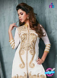 NS11945  White and Golden Party Wear Georgette Straight Suit