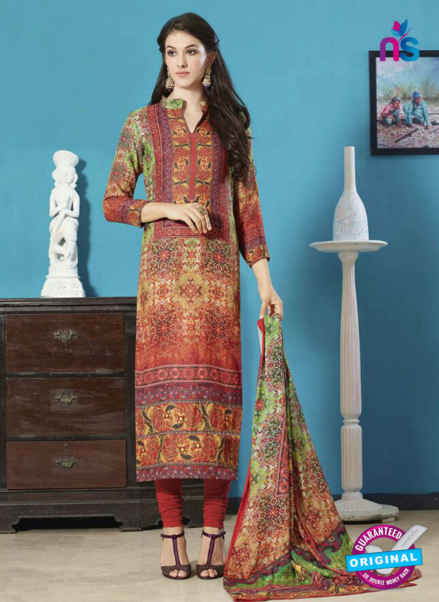 NS11948  Brown and Green Daily Wear Pashmina Straight Suit