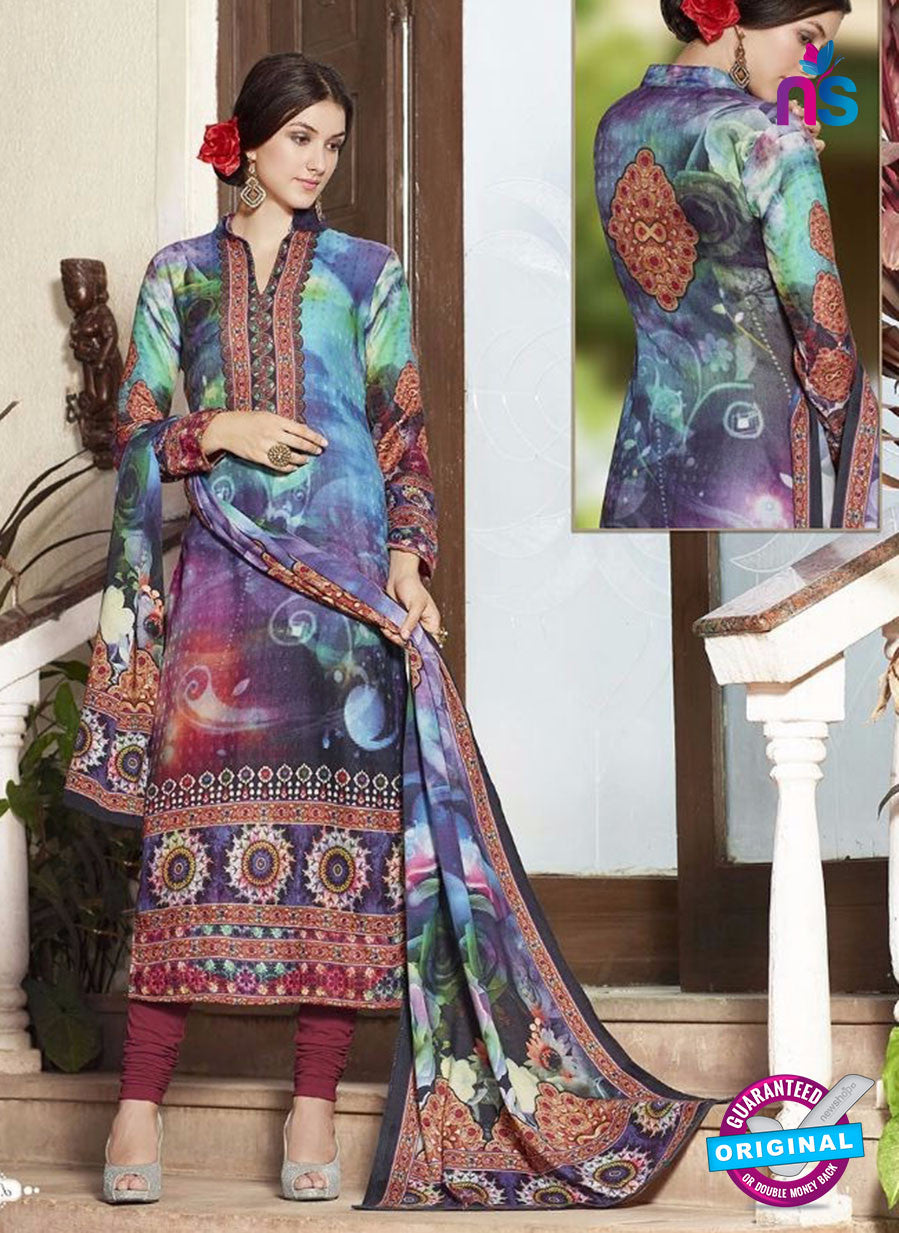 NS11949  Maroon and Blue Daily Wear Pashmina Straight Suit