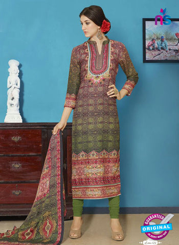 NS11951  Green and Red Daily Wear Pashmina Straight Suit