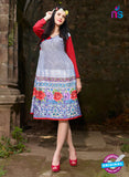 NS10046 Red and Multicolor Party Wear Half Georgette Half Satin Kurti