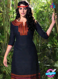 NS10516 Blue and Red Designer Linen Kurtis