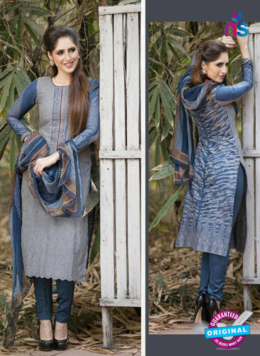 Ganga 119 Grey and Blue Embroidered Cotton Suit