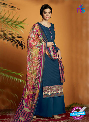 Dark Blue Cotton Satin Fancy Designer Plazo Suit