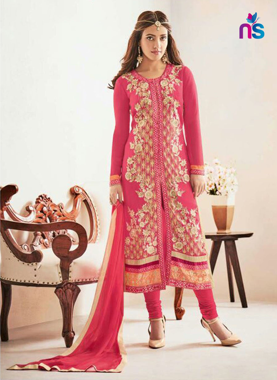 NS11243 DeepPink and Multicolor Party Wear Georgette Straight Suit