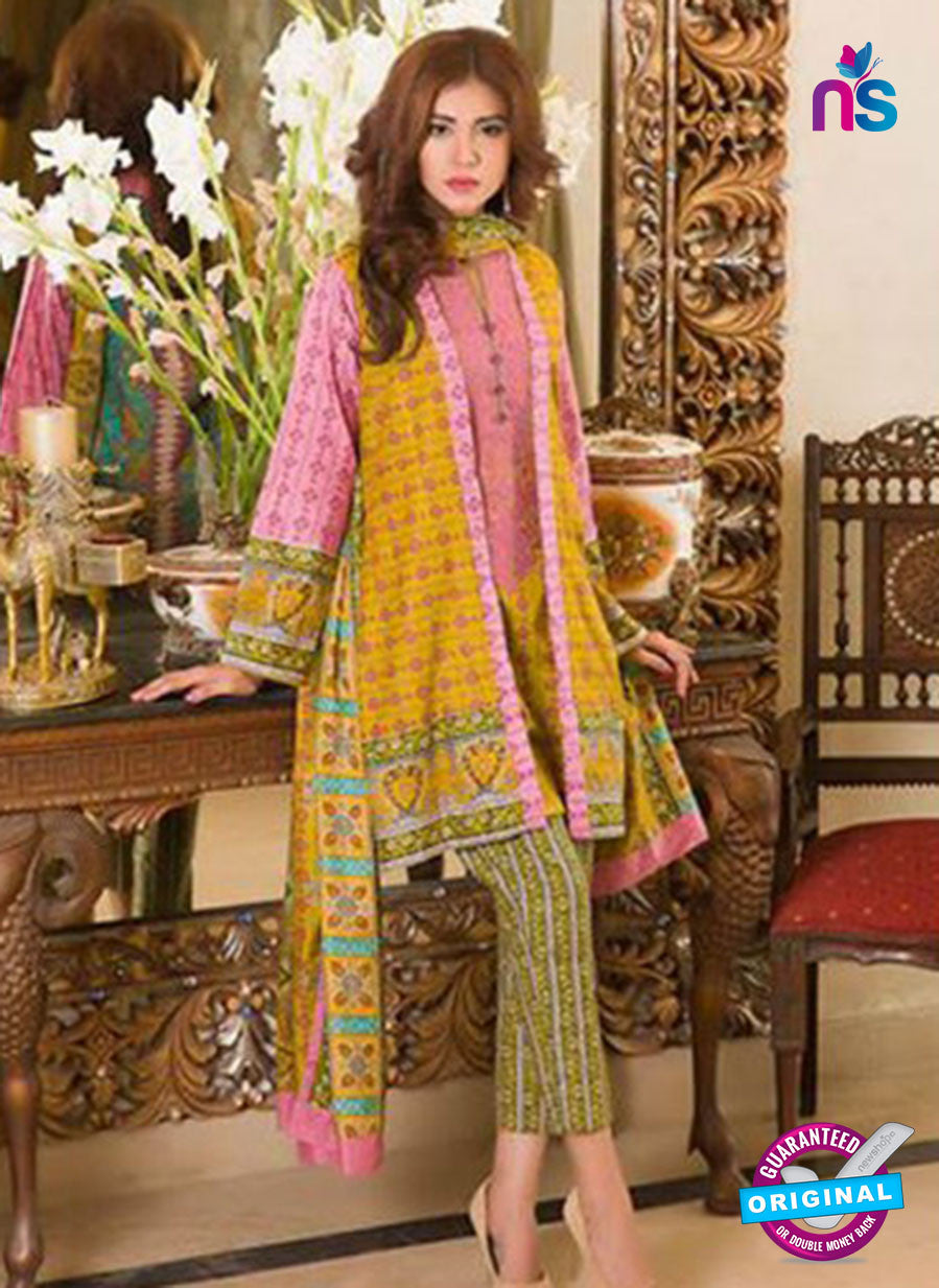 NS 12370 Yellow and Pink Embroidered Printed Lawn Party Wear Suit