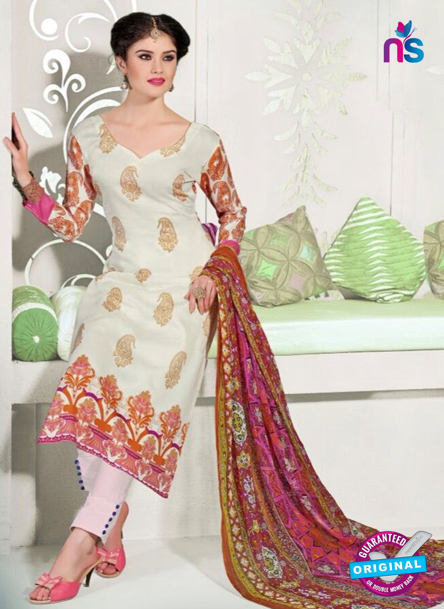 NS11056 Off White Brown and Pink Satin Cotton Designer Straight Salwar Suit