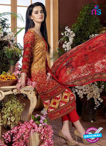 Rajavir 11 Red Printed Cotton Suit