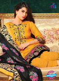 SC 13631 Orange and Black Embroidered Lawn Pakistani Suit