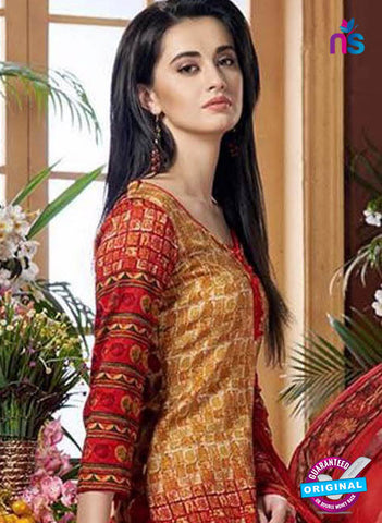 SC 42444 Red Printed Cotton Suit