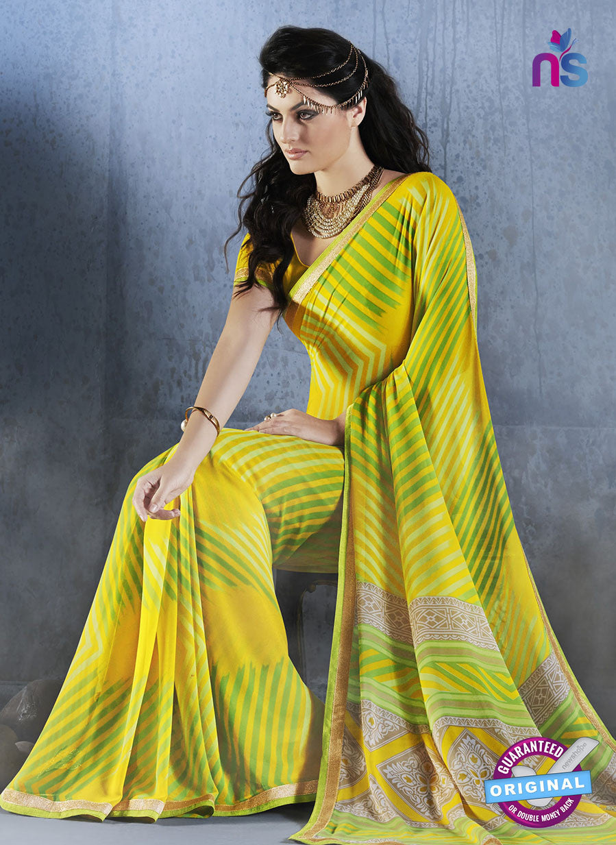 NS10559 Yellow and Green Georgette Casual Saree
