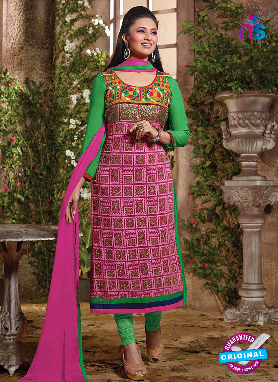 NS12110 Pink and Green Straight Suit