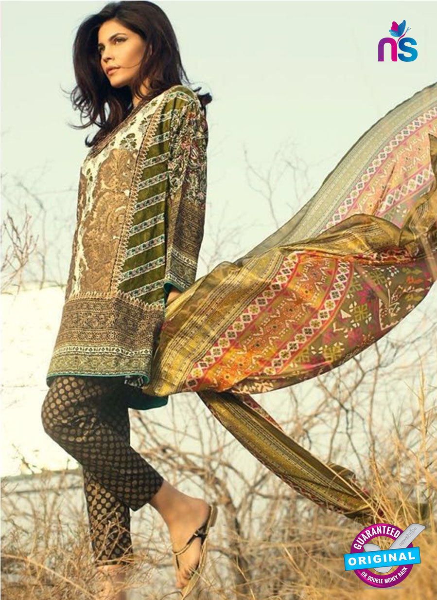 SC 13038 Green and Brown Embroidered Pure Cambric Cotton Pakistani Suit