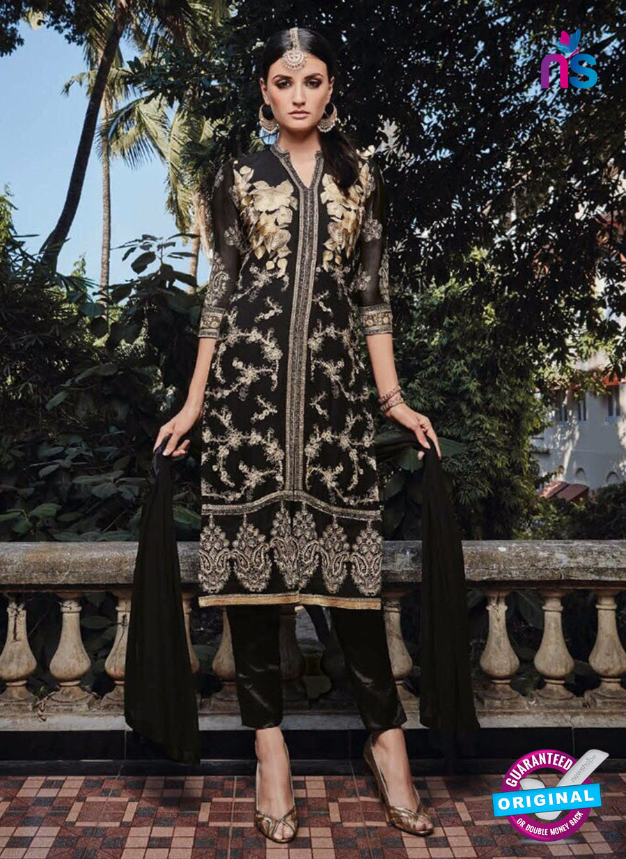 NS11134 Black Party Wear Faux Georgette Pakistani Suit