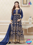 SC 12891 Blue and Golden Faux Georgette Party Wear Anarkali Suit
