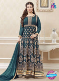 SC 12892 Blue and Golden Faux Georgette Party Wear Anarkali Suit
