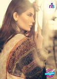 SC 13036 Black and Beige Embroidered Pure Cambric Cotton Pakistani Suit