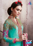 SC 13537 Sea Green and Pink Embroidered Georgette Party Wear Designer Suit
