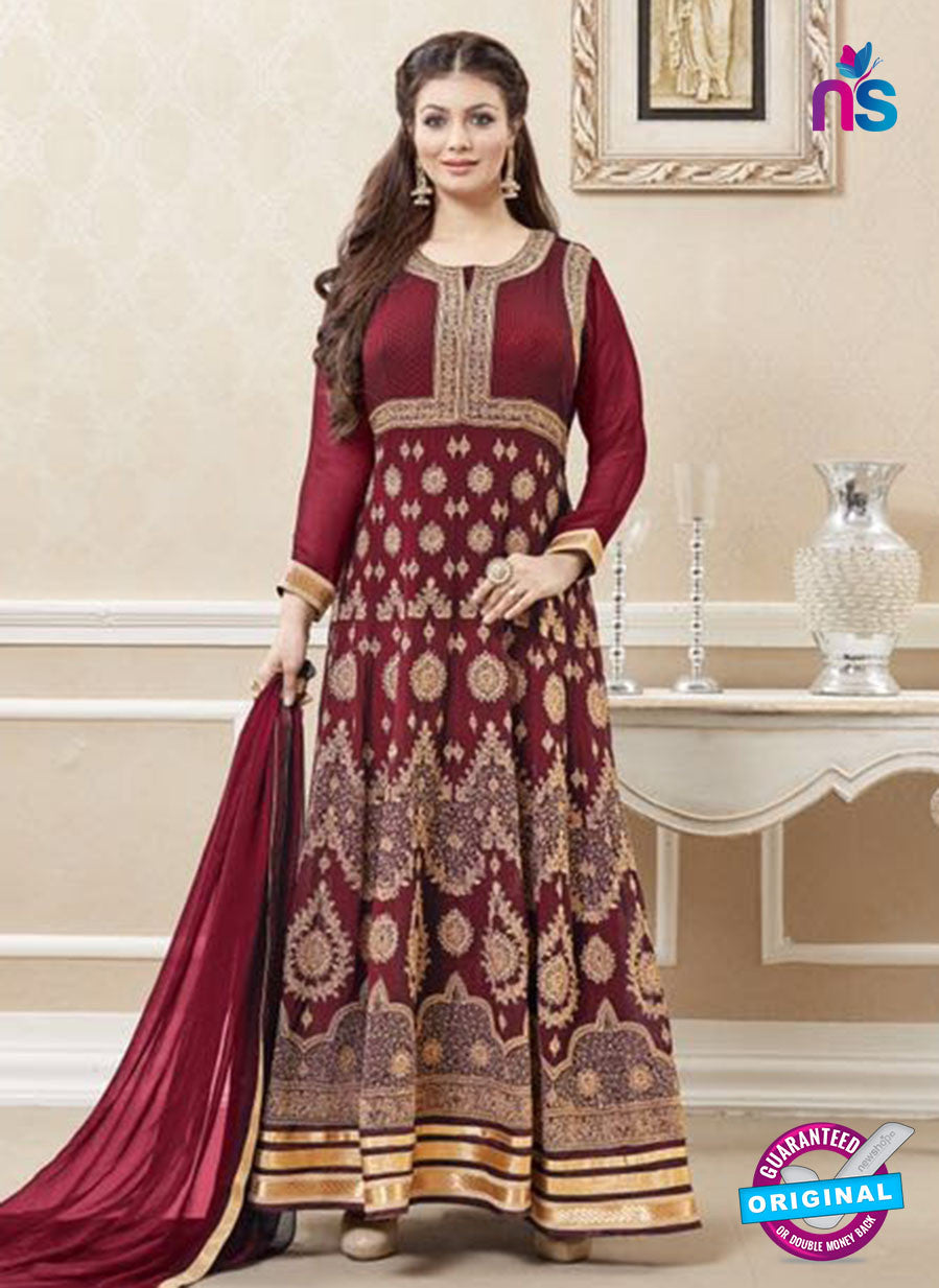 SC 12893 Red and Golden Faux Georgette Party Wear Anarkali Suit