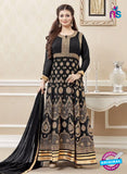 SC 12894 Black and Golden Faux Georgette Party Wear Anarkali Suit