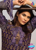 SC 13037 Purple Embroidered Pure Cambric Cotton Pakistani Suit