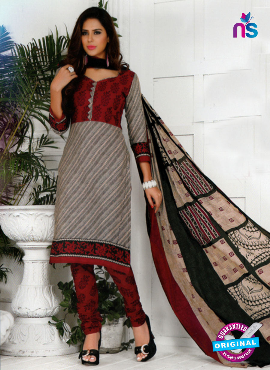 NS10574 Gray and Red Casual Cotton Print Suit