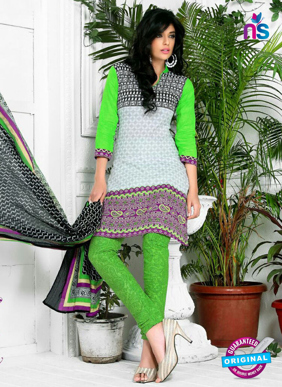 NS10575 Green and Purple Casual Cotton Print Suit