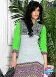 NS10575 White and Green Casual Cotton Print Suit