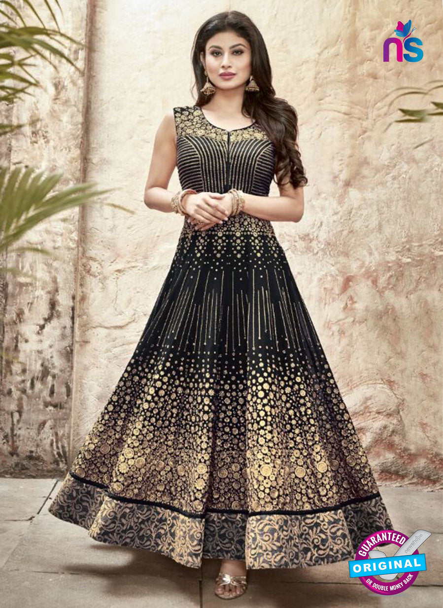 SC 13231 Black and Golden Embroidered Faux Georgette Anarkali Suit