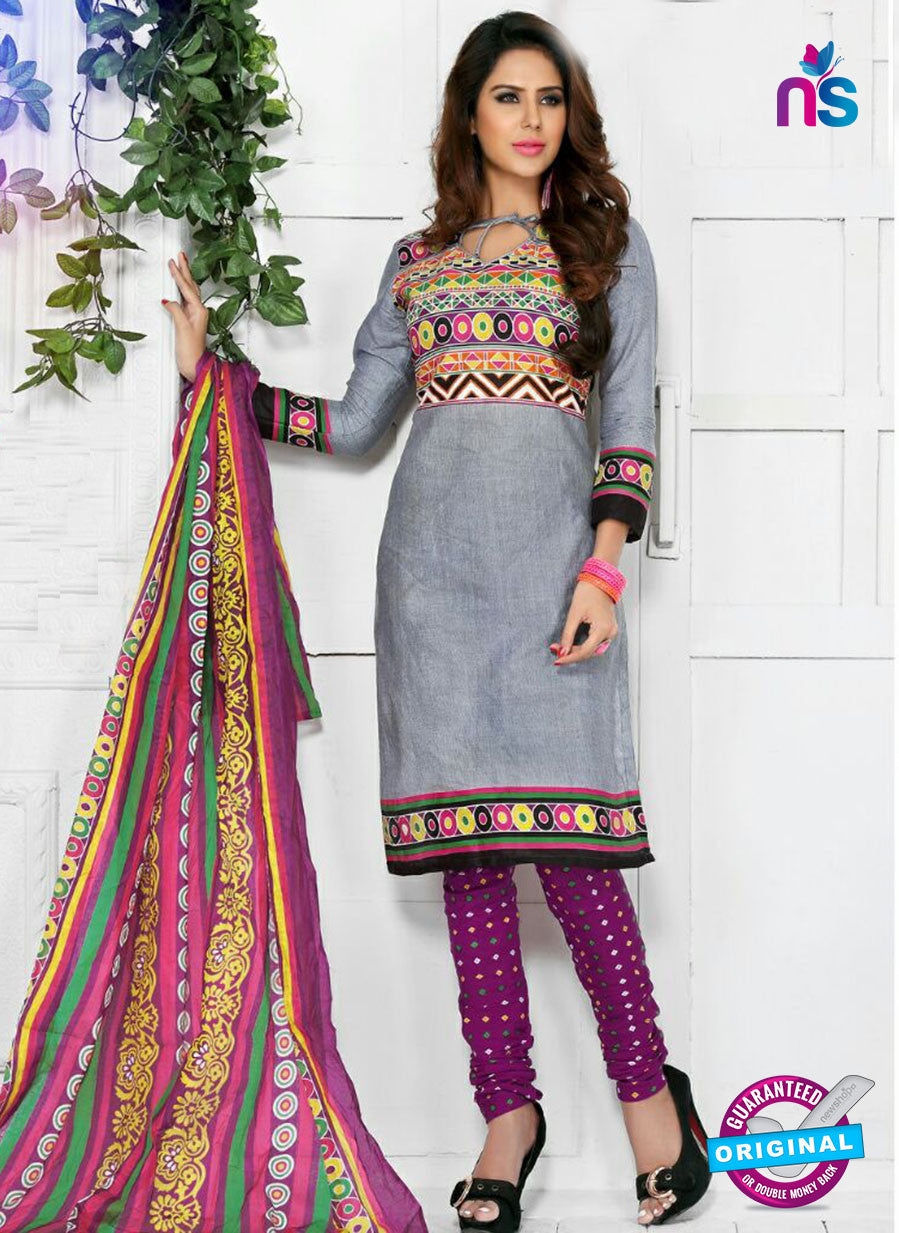 NS10576 Gray and Purple Casual Cotton Print Suit