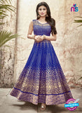 SC 13229 Blue and Golden Embroidered Faux Georgette Anarkali Suit