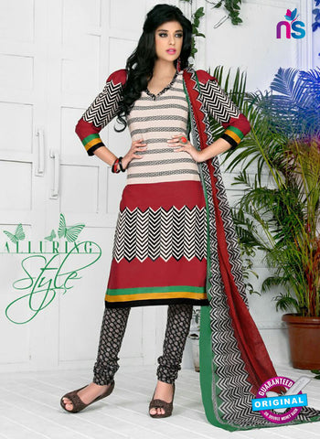 NS10577 Red and Black Casual Cotton Print Suit