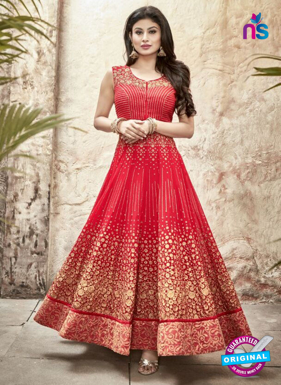 SC 13228 Red and Golden Embroidered Faux Georgette Anarkali Suit