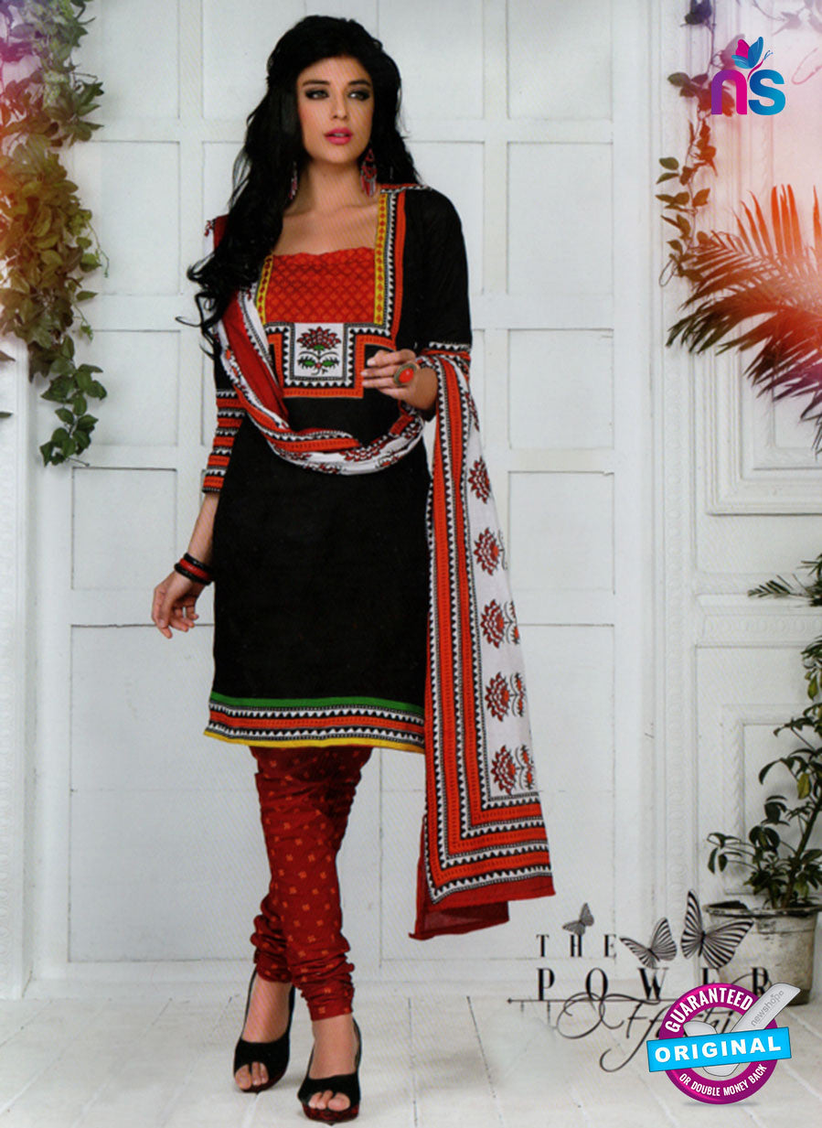 NS10579 Black and Red Casual Cotton Print Suit