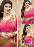 SC 13230 Pink and Golden Embroidered Faux Georgette Anarkali Suit