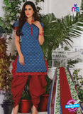 NS10580 Blue and Red Casual Cotton Print Suit