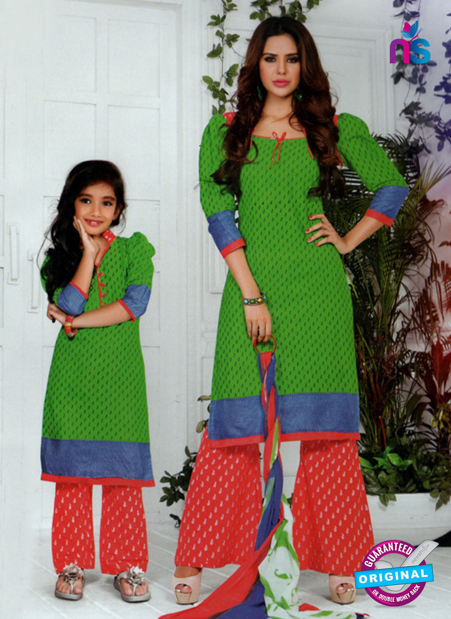 NS10581 Green, Blue and Red Casual Cotton Print Suit