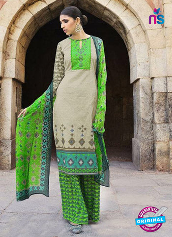 Omtex 1201 B Beige and Green Lawn Cotton Plazzo Suit