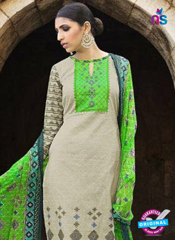 Omtex 1201 B Beige and Green Lawn Cotton Plazzo Suit Online