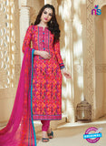 SC 13541 Magenta Cambric Cotton Embroiderd Party Wear Un Stitiched Fancy Long Straight Suit