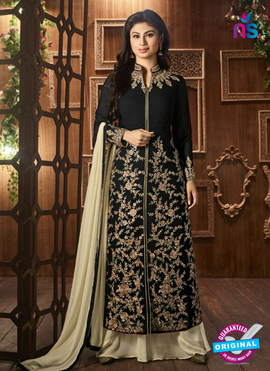 AZ 3365 Black and Beige Embroidered Semi Georgette Party Wear Suit