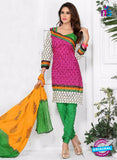 NS10584 Pink and Green Casual Cotton Print Suit