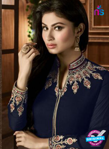 AZ 3366 Blue and Beige Embroidered Semi Georgette Party Wear Suit Online
