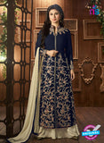 AZ 3366 Blue and Beige Embroidered Semi Georgette Party Wear Suit