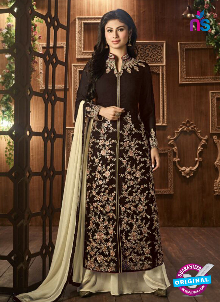 AZ 3367 Brown and Beige Embroidered Semi Georgette Party Wear Suit