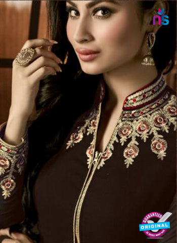 AZ 3367 Brown and Beige Embroidered Semi Georgette Party Wear Suit Online